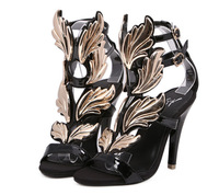 2014 New summer GZ ladies sandals women high heel shoes sexy Wedding Wedges Shoes women gold leaf flame wings sandal