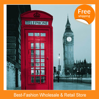 Free shipping 2pcs/lot ,Fashion terylene shower curtain big ben telephone booth waterproof bathroom curtain England London