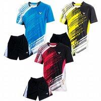 NEW 2014 Tops T-shirts South Korea Victor men's table tennis men shirt clothing / Badminton T-shirt+short