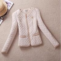 white,black,blue 2XL,3XL,4XL,5XL.New 2014 fashion women autumn Slim round neck casual cotton jacket winter coat plus size jacket