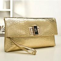 Alligator Envelope bag Designer clutch  brand women clutch handbag gold silver PU patient leather fashion shoulder messenger bag
