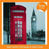 Free shipping 100pcs/lot ,2014 London Big Ben Telephone Design 180cmx180cm Waterproof Mouldproof PEVA shower curtain with Hooks