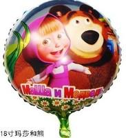 20pcs/lot Masha Bear Helium balloons Kids 18-inch aluminum Martha and bear balloons series children's toys helium balloons