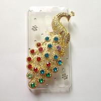 For MEIZU MX2 MX3  Peacock Rhinestone Case ,New Arrival Crystal Diamond Hard Back Skin Mobile phone Case , free shipping