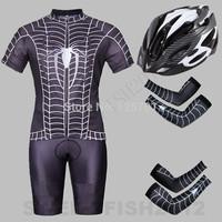 2014 NEW!  SUPER HERO Black The Venom Spider-Man  Bicycle Cycling Kits Wear Jerseys Shorts Suit + Bib Pants +Oversleeve+Helmets