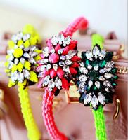 JC100 Shourouk Rainbow Colorful Crystal Cluster Cord Rope Bracelets Fashion Statement Women Bracelets No Min Order Best Price