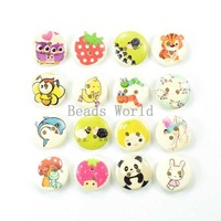 Wholesale 100 Pcs Mixed Cartoon Pattern 2 Holes Wood Sewing Buttons Scrapbooking 15mm For DIY Jewelry Findings(W03663 X 1)