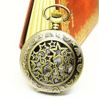 Dropship Hot Sale Bronze Vintage Big Round Star Hollow Cut Fashion Quartz Watch Pocket For Women