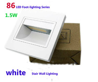 HI-Q White/black/silver/gold ABS modern LED stair wall light lamp 85-240V 1.5W  86 box embedded stair step lamps Free Shipping