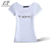 Drop Shipping 2014 New Women Fashion Slim Fit T-shirt Letter Printing Casual Tops M-XXXL
