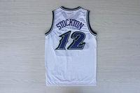 Promotion the USA Utah  #12 John Stockton  throwback men camisetas sport shirt embroidery mesh basketball  jerseys