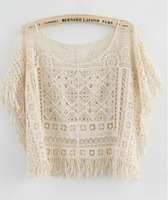 2014 Women's New Fashion  Cotton Batwing Sleeve Lace  Tops Top Tessel  Blouese