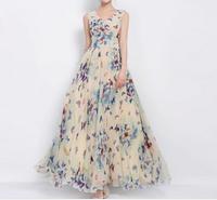 2014 European Style Big size XXXL Summer maxi butterfly Print long dress woman print Chiffon Bohemian Beach dresses AY850751