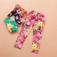 Retail 2014 hot girls leggings children pants cute kids rose  silk cotton White Floral Leopard spring autumn
