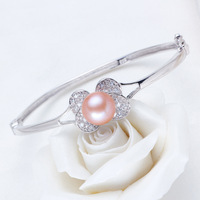 Free Shipping  Freshwater Pearl Cuff Bracelet  Pure Silver Bracelet With Nature Pearls Zircon Butterfly Bracelet