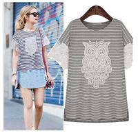YHM1324 Women Summer 2014 Loose Short Sleeve O-neck Shirt Ladies Owl Pattern Striped Casual Blouse