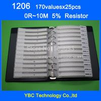 Free shipping 1206 SMD Resistor Sample Book 5% Tolerance 170valuesx25pcs=4250pcs Resistor Kit 0R~10M
