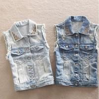 Colete Women Denim Vest Blue Jean Coat Rivet European Street Turn-down Collar Blue Jacket Ladies Clothing New 2014 Free Shipping