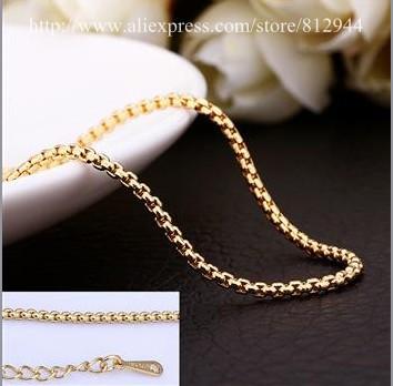 18K Chain - PBC021 - / High Quality Box Chain Gold Plated 18K Plated Chain Necklace White Gold Chains & Necklaces For Women(China (Mainland))