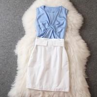 Brand New Fashion Star Model summer women's new wrinkles Slim blue sleeveless vest blouse+white skirt suit hot sell wholesale