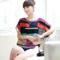 New 2014 Short Sleeve O-neck Stripe Colorful Patchwork Chiffon Casual Women Tshirts Blouses Plus Size XXXL
