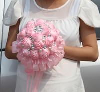 Handmade Fine Work Silk Rose Wedding Bouquet  Handmade Silk Pink Rose Bridal Bouquet Flowers With Pearl Diamond