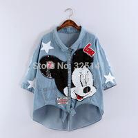 New 2014 Mickey Jeans Jacket Coats Women  jeans jacket sequined women coat denim jackets Denim Outwear Free Shipping