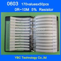 Free shipping 0603 SMD Resistor Sample Book 5% Tolerance 170valuesx50pcs=8500pcs Resistor Kit 0R~10M