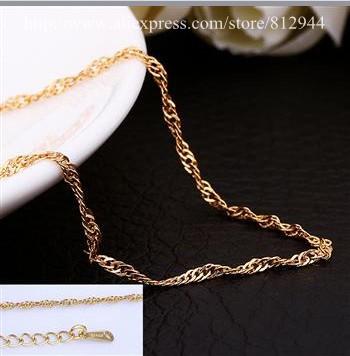 18K Chain - PBC023 - / Water wave Chain Gold Plated 18K Plated Chain Necklace White Gold Chains & Necklaces For Women / Men(China (Mainland))