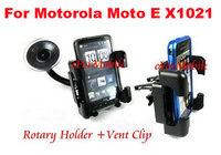 PVC Holder Car Mount Holder Sunction Window Mobile Phone Holder +Vent Clip For Motorola Moto E XT1021  Moto E Dual SIM XT1022