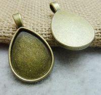 Pendant trays teardrop bezel cabochon mountings, 18x25mm, antique bronze,  wholesale