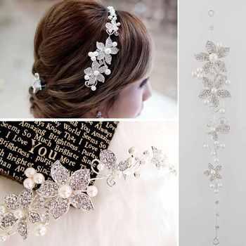 Мода ясно из хрусталя и жемчуга цветок свадебные повязка на голову резинка для волос ...