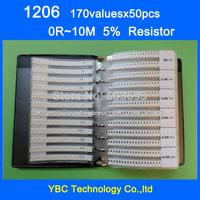 Free shipping 1206 SMD Resistor Sample Book 5% Tolerance 170valuesx50pcs=8500pcs Resistor Kit 0R~10M