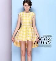 2014 Free shipping Summer Europe and America Print sleeveless dress Women's Silk Dress,High Quality dress ,Yellow ,Green,Pink ,
