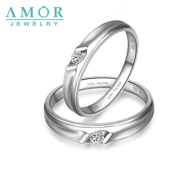 AMOR LOVE MY LOVE SERIES NATURAL DIAMOND 18K WHITE GOLD LOVERS RING JBFZSJZ009