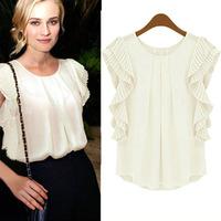 Latest Womens Lady Summer Chiffon Short Sleeve Organ fold sleeve Casual Tops Tee T Shirt Blouse