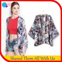 New 2014 Women's Print Floral Japan Jackets Kimono Designer Outwear Free Shipping