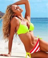 free shipping 2014 new secret style women bikini set steel bracket stripe beach bikinis green color