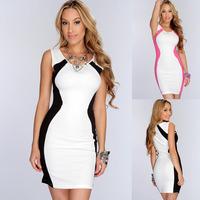 2014 Sexy Patchwork Black White Dress Short Tight Mini Luxury Club Knit Women Clothes O Neck Club Party Evening black dresses
