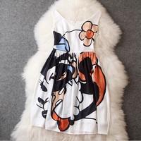 Hot summer new European and American big money women's sleeveless Mickey print Slim thin dress vest dress Brand Fashion