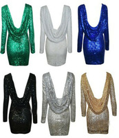 Free shoping NEW ARRIVALS Fashion gold sequined dress sexy backless BODYCON. Party Dress(6colors)Free Shipping