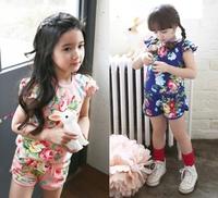Girls sets New summer set 2pcs Girl Kids Floral T-shirt + Pants suits casual brand clothing set