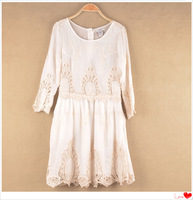 2014 Autumns Vintage Women's Sexy Print Hollow Mid Calf Embroidered Beige Lace Big Size Mini Dresses free shipping