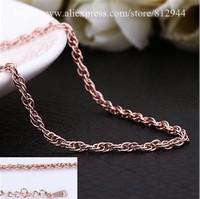 18K Chain - PBC030 - / Free ship Singapore twisted Rose Gold Chain Necklace 18K Plated Gold Chains & Necklaces For Women / Men