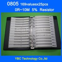 Free shipping 0805 1/8W  SMD Resistor Sample Book 5% Tolerance 169valuesx25pcs=4225pcs Resistor Kit 0R~10M