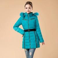 4XL New Fashion 2014 Women Winter Warm Slim long Thermal Parkas Fur Hoodies Casual Plus Size Coats jackets Female Overcoat Tops