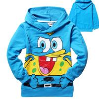2014 Retail Free shipping Children's sweater boy's long sleeve hoodies autumn Kids Spongebob hooded sweatshirts fashion outwear