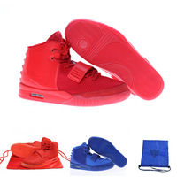 Air yeezy 2 Red October men athletic shoes kanye west gamma blue mens basketball shoes size 40-47