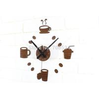 Fun DIY Leisure Time Coffee Cup Wall Clock Retro Brown 3 Pieces/lot