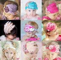 Free Shipping Infant Baby Toddler Cute Hair Accessories Kids Feather Hair Band Baby Girl Headband Flower Elestic Hariband Gift